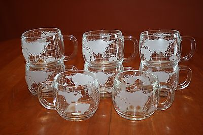 Eight Vintage Nestle Nescafe Clear Glass World Globe Coffee Cups New in the Box