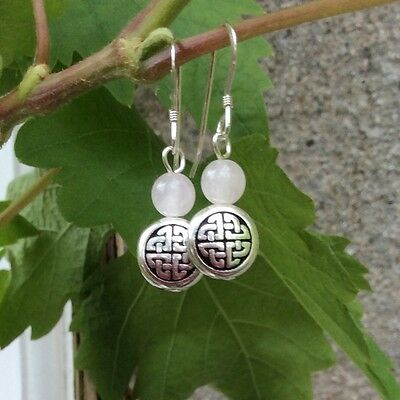 Rose Quartz Celtic earrings. Irish jewellery and gifts. Kilkennycailin design