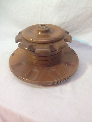 Vintage Rotating Lazy Suzanne Spinning  9pc Pipe Stand With Humidor Walnut Wood