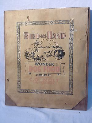 Vintage Bird In Hand  Wonder Dog Food Feed Bag Sign Wall Plaque