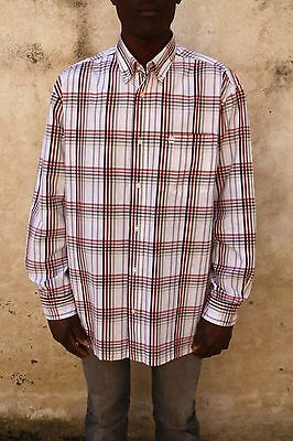 Timberland Mens Tartan Checked White Red Shirt Cotton VTG 90s Very GOOD Look