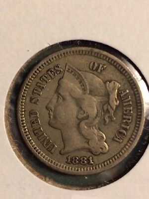 1881 Three Cent Nickel In XF Condition!! Nice Coin!!!