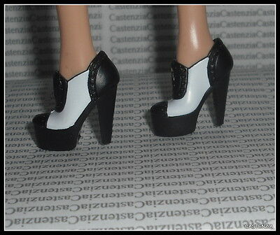 Shoes Mattel Barbie Doll Model Muse Black  White Frank Sinatra High Heel Loafers