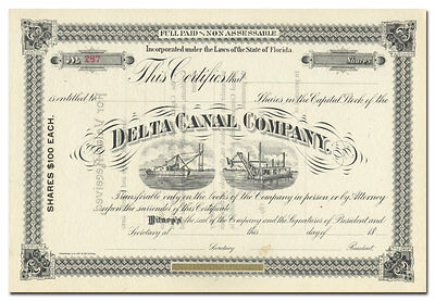 Delta Canal Company Stock Certificate (Florida)