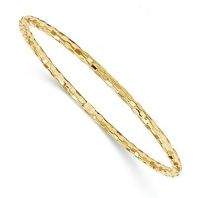 14k Yellow Gold 7.5in Polished/Textured Bangle Bracelet