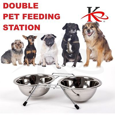 DOUBLE PET FEEDING STATION STAINLESS STEEL16oz BOWL DURABLE NON-SLIP FOOD/WATER