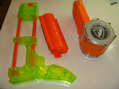 NERF GUN lot of 9 magazine drum shoulder stock clip disc discontinued rare