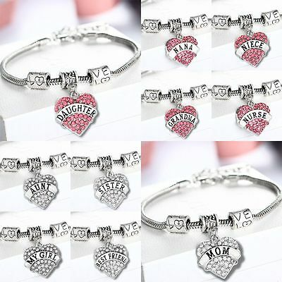 Fashion Family Friend Bangle Bracelet Love Words Charm Beads Women Jewelry Gifts