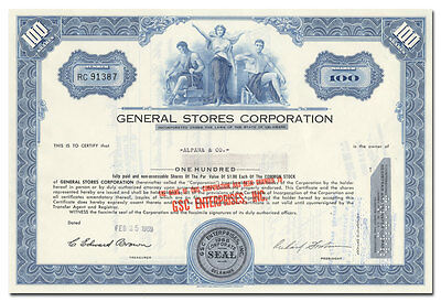General Stores Corporation Stock Certificate (Tobacco and Cigar Stores)