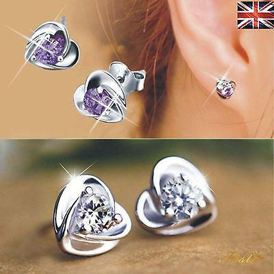 Trendy 925 Sterling Silver Heart Shaped Cubic Zirconia Ear Stud Earrings UK
