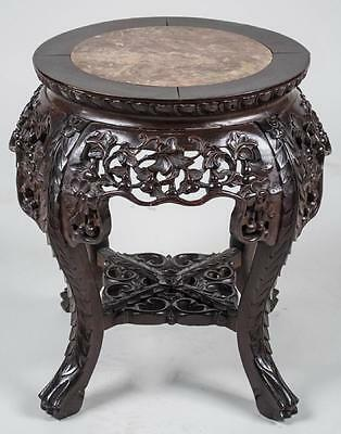 Antique~CARVED WOOD MARBLE CHINESE/ASIAN/ORIENTAL PLANT STAND/TABLE~Heavy
