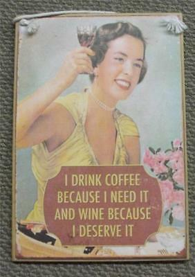 Vintage & Country Inspired Wooden Sign With Rope Hanger Drink Wine Coffee New