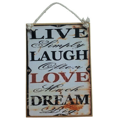 Vintage & Country Inspired Wooden Sign With Rope Hanger Live Laugh Love New