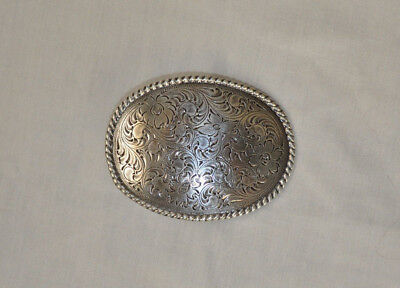 WOMAN'S NEW Floral and Rope Deisgn Silver Tone Belt Buckle