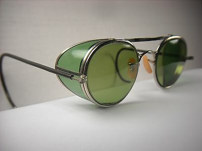 Vintage safety glasses. Mint! Green B&L lenses & side shields. Steampunk goggles