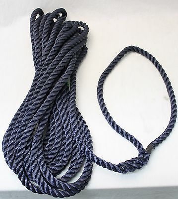 Boat Mooring Line Rope Blue 3Strand 12mm x 9 Meters Dock Line Eye Splice one end