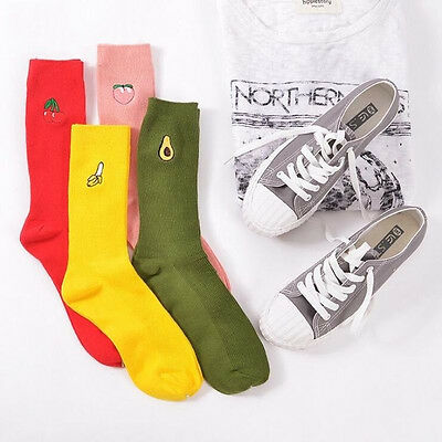 1pair Cute Women Girl 3D Fruit Embroidery Cartoon Cotton Warm High Socks Hosiery