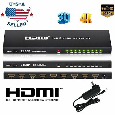 1 In 8 Out HDMI Splitter Switch 1X8 8 Port Repeater Amplifier Hub 3D 4K HD 1080P