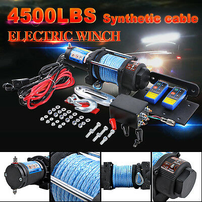 Electric Winch 4500LBS 2040KG 12V Synthetic Rope 2 Wireless Remote ATV Boat 4WD