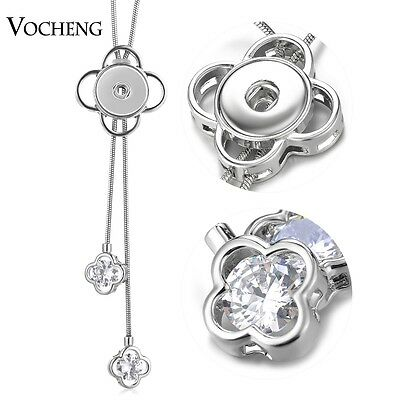10pcs Snap Charms Necklace CZ Stone Adjustable Stainless Steel Chain NN-600*10