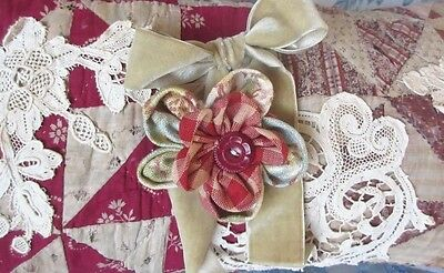 Antique Hand Made 1800s Quilt Shabby Pillow Accent Lace Applique Fabric Flower