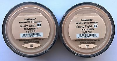 Bare Escentuals BareMinerals Foundation Fairly Light N10 8g XL SPF15 PACK OF 2
