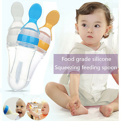 Infant Kids Baby Feeding Silicone Gel Feeding Bottle Rice Cereal With Spoon