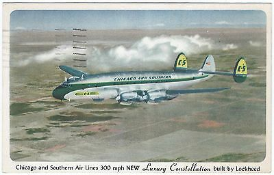 CHICAGO & SOUTHERN Lockheed Constellation ca.1951 Vintage Promo Advt Postcard VG