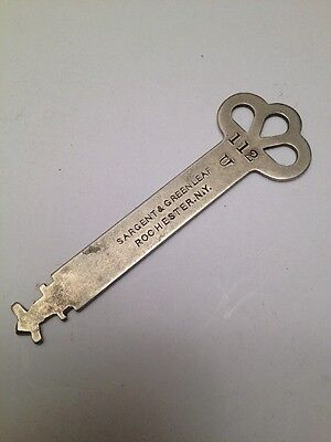 Antique SARGENT GREENLEAF Co. No. 112U FLAT KEY ROCHESTER NY Lock Safe Strongbox