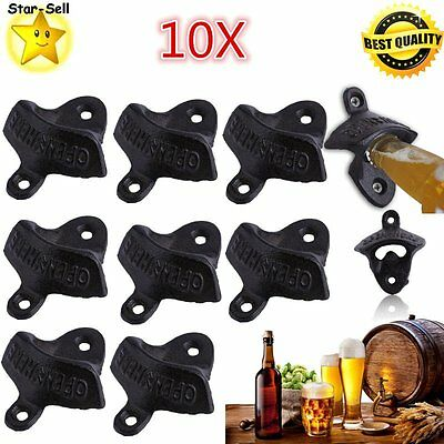 10x Rustic Open Here Cast Iron Wall Mount Beer Bottle Openers Soda Opener BLACK