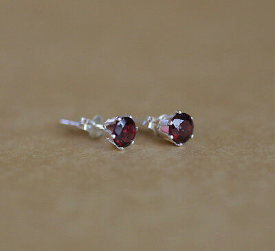 925 Sterling silver stud earrings with natural faceted Garnet gemstones