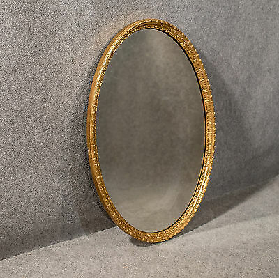 Antique Giltwood & Gesso Oval Wall Mirror 3' Overmantle English Victorian c1890