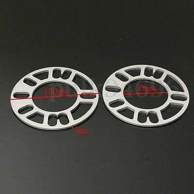 2PCS 5MM ALLOY WHEEL SPACERS SHIMS SPACER UNIVERSAL 4 AND 5 STUD FIT Autocar NEW