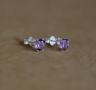925 Sterling silver stud earrings with natural faceted Amethyst gemstones