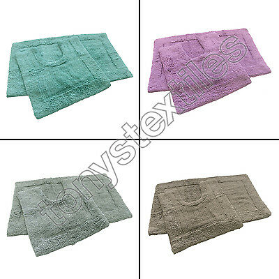 100% Cotton Pile 2 Piece Bath Mat Pedestal Bathroom Toilet Set 4 Colours