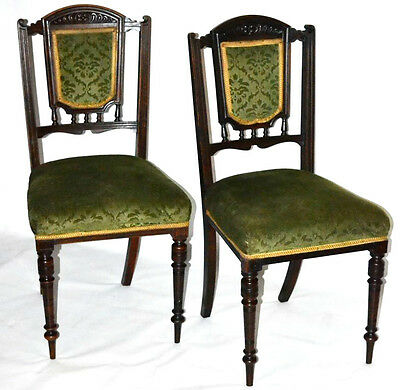 A pair of Victorian Carved Oak Dining Chairs - FREE Shipping [PL3351]