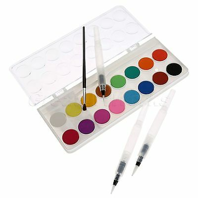 1 Box Fast Drying 16 Colours Solid Cakes Watercolor & Water Brush Ink Pens 3pcs