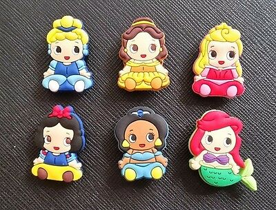 6 x Cute Baby Disney Princesses Croc Shoe Charms Crocs Jibbitz Wristbands Belle