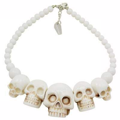 Kreepsville 666 White Skull Collection Necklace Horror Rockabilly Punk Pin Up