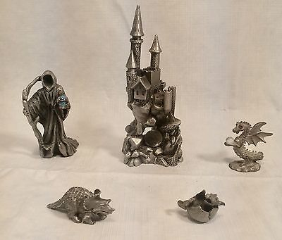 VTG LOT OF 5 PEWTER FIGURINES by Spoontiques Dragon - Reaper - Castle - Dino