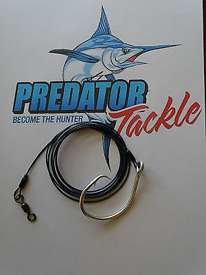 2x   Shark rig 120kg [264 lb] coated 316 s/s49 strand wire 16/0 circle hook