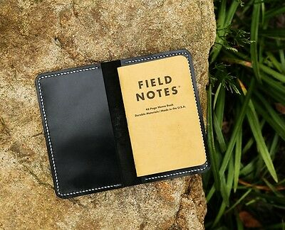 Slim minimal black leather cover case for pocket size field notes notebook