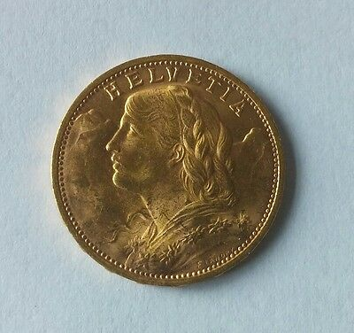 1935 Lb 20 Franc Swiss Gold Coin. Au