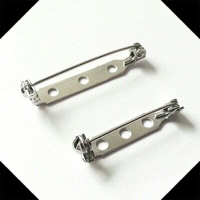 5, 20 or 50 Silver Tone Brooch Backs 25mm 30mm safety bar pin broach badge