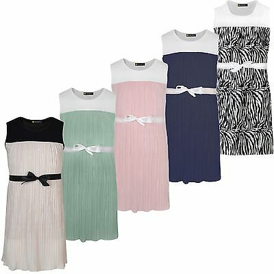 Girls Ribbon Tie Textured Plisse Dress Pleated Casual Summer Party Top