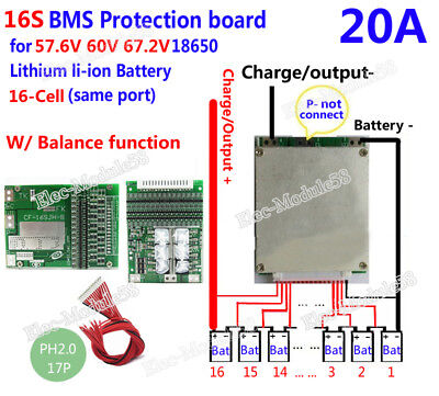 16S 60V 20A W/ Balance Li-ion Lithium 18650 Battery BMS PCB Protection Board