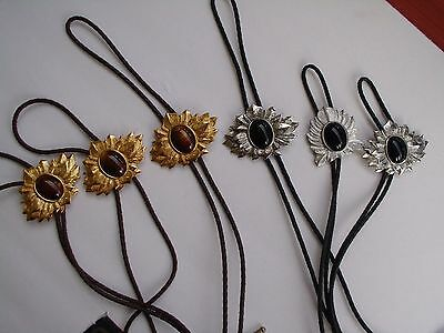 BOLO TIE'S, lot of 6 GEM STONE LEATHER, 3 SILVER TONE 3 GOLD TONED, NOS VINTAGE