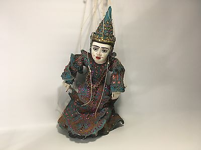 Burmese Marionette Hand Carved Puppet Jointed Hands and Mouth Move, Antique