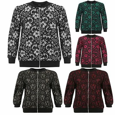 Womens Plus Bomber Jacket Long Sleeve ZipFloral Lace Ladies Crew Neck 14-28
