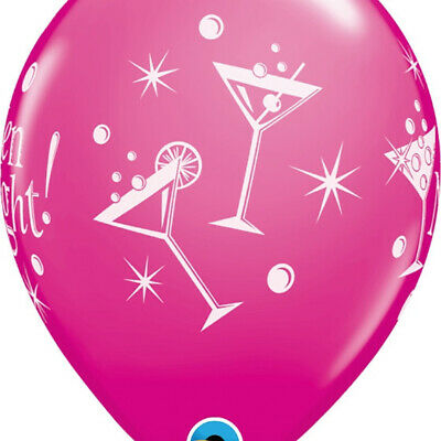 """Qualatex 5 x Hen Night Bubbly 11"""" Latex Balloons Wild Berry Pink & Rose  Mix"""